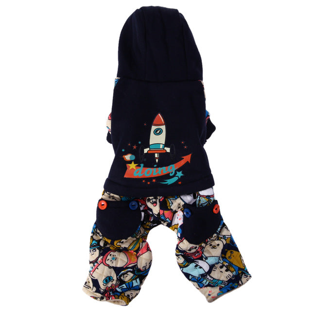 Rocket Ship Cotton Hoodie Sweat Pet Jumpsuits with Back Pockets in 2 Styles