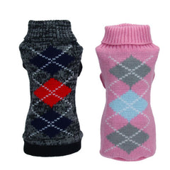 Hot Seller!  Warm Knit Argyle Pet Turtleneck Sweaters in 2 Colors