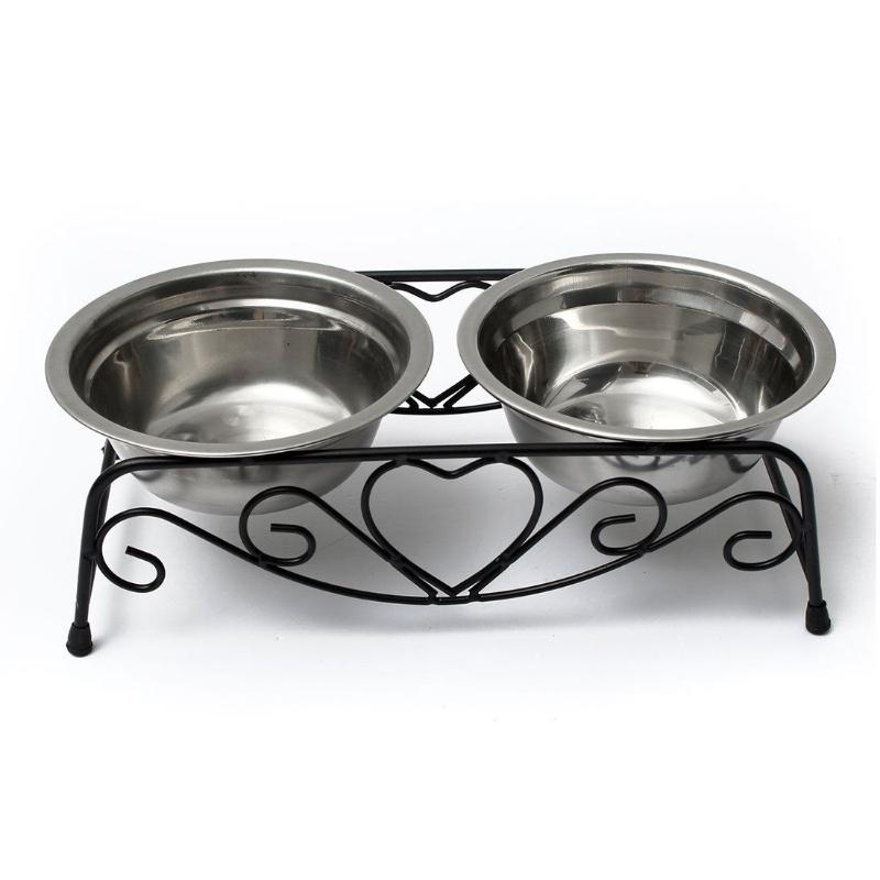 Stainless Steel Double Bowl with Metal Heart Stand