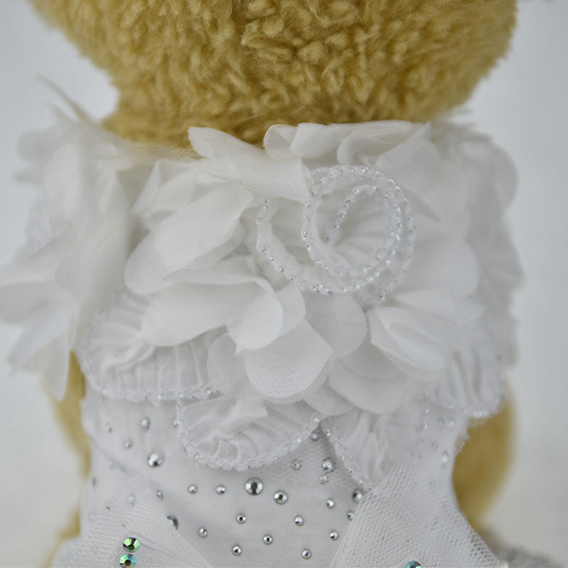 Luxury White Lace Flower with Bow Tutu Dress