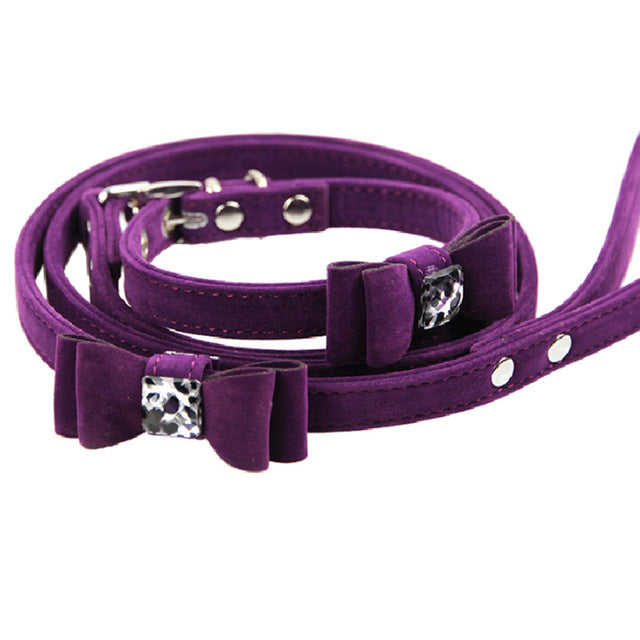 Fabulous Collar & Leash with Bow and Leopard Ornament