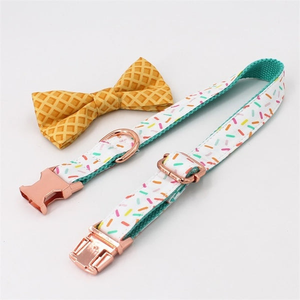 Rose Gold & Sprinkles Pattern Bow Collar & Leash