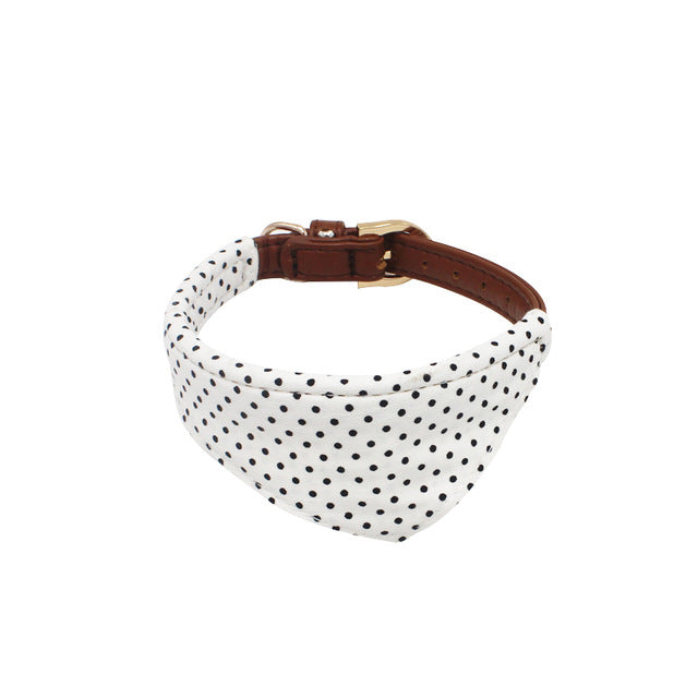 Bandana Leather Leash w/ Bow Collar