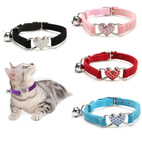 Heart Pendant Cat Collar w/ Bell