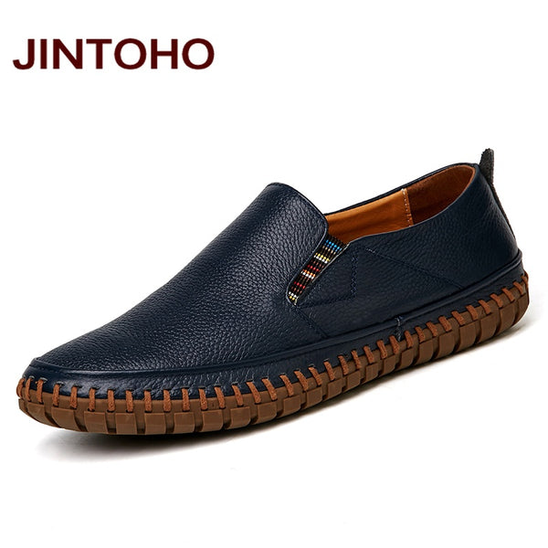 New Men/'s Casual Genuine Leather Shoes Slip on Black Shoes #
