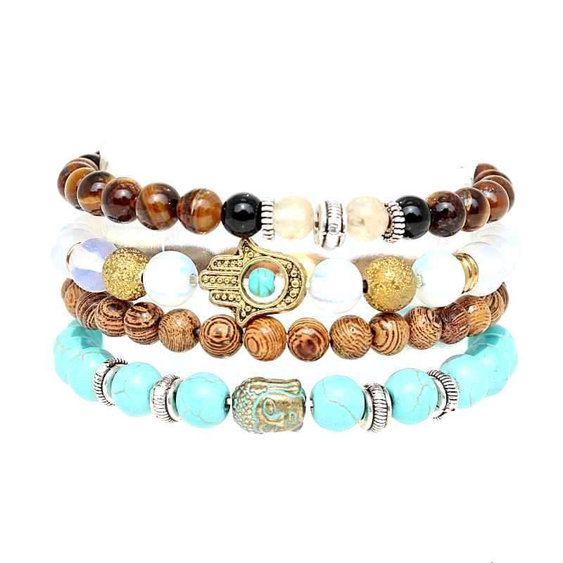 Boho Stone Beads Bracelet Set Green Buddhist Hamsa Hand 4pcs Bracelets For Statement Women