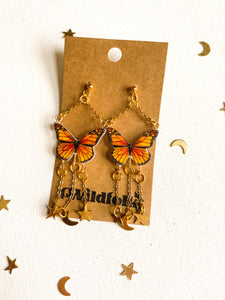 Celestial Monarch Butterfly Statement Earrings