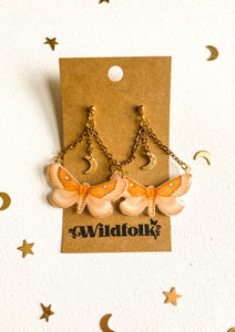 Celestial Moon Moth Statement Earrings
