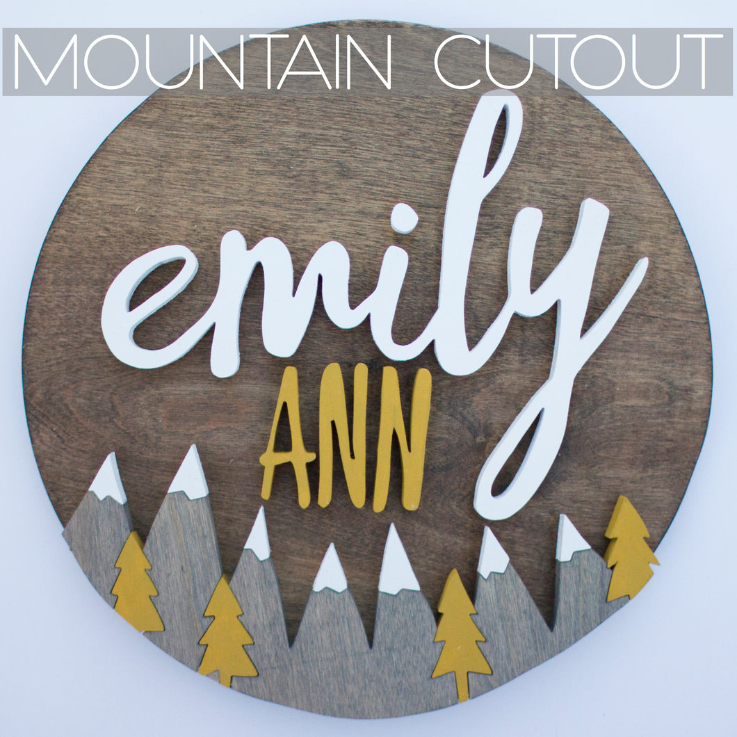 Mountain & Tree Scene Wood Cut Out