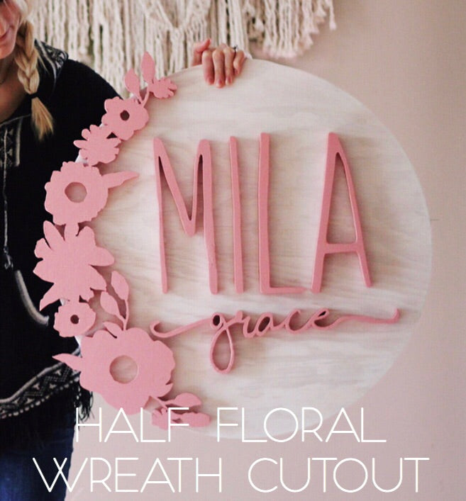 Half Floral Wreath Cut Out Add On