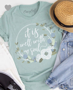 It Is Well Graphic Tee in Dusty Blue