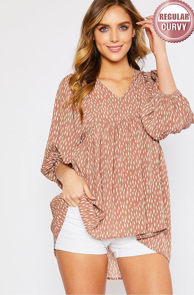 Andrea Geometric Print Top