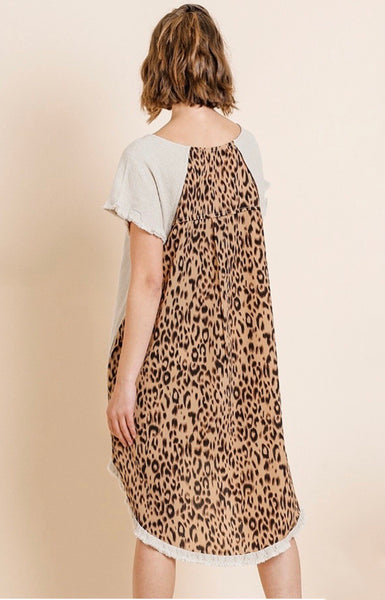 Leopard Back High-Low Dress in Oatmeal