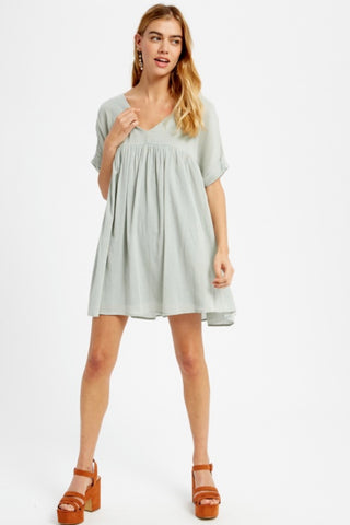 Linen V-Neck Babydoll Tunic - 3 colors