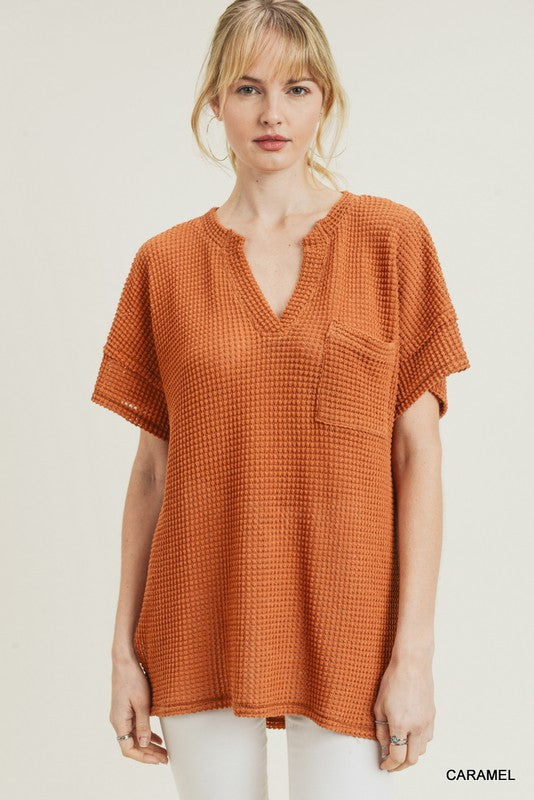 Short Sleeve Waffle Knit Top
