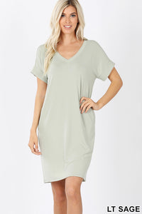 Jamie Rolled Sleeve Shift Dress