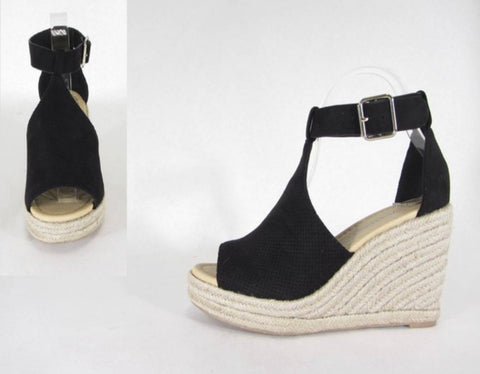 Faux Suede Perforated Wedge