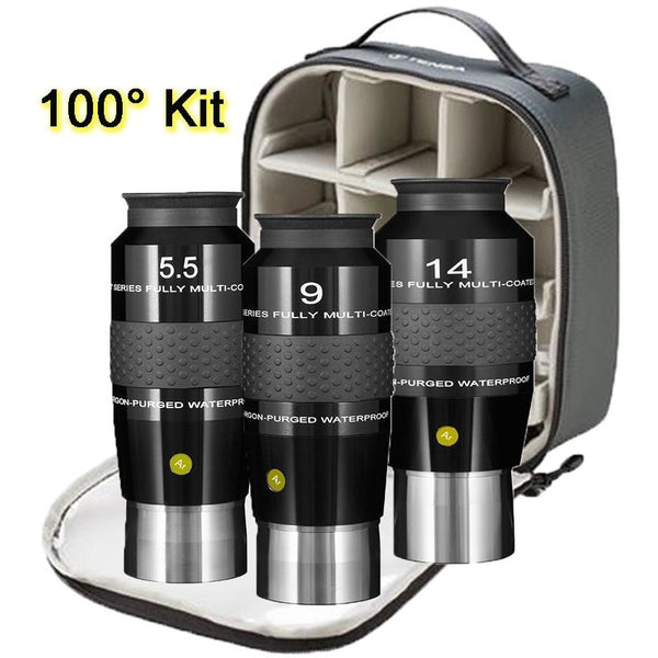 Explore Scientific 5.5, 9 and 14mm Argon-Purged Waterproof 100° Eyepiece Set with soft case