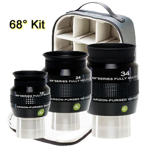Explore Scientific 16, 24 and 34mm Argon-Purged Waterproof Eyepiece 68° Set with soft case