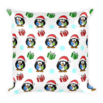 Christmas Penguin Square Pillow - pillow insert included