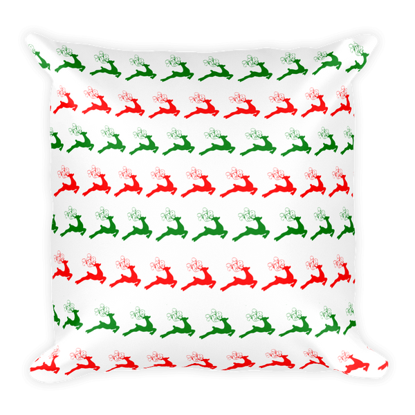 Christmas Reindeer Square Pillow - Pillow insert included