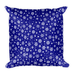 Dark Blue Snowflake Square Pillow - Pillow insert included