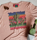 Dusty Rose Serape Cactus S/S Tee - Youth