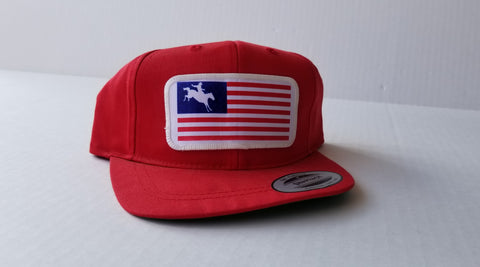 American Flag Bronc Snap Back Hat - Youth