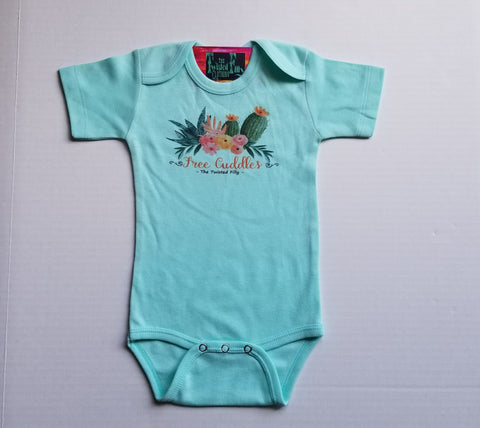 Free Cuddles w/ Cactus - L/S One Piece - Infant - Turquoise