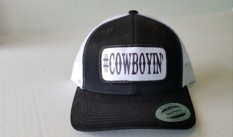 #Cowboyin' Youth Trucker Snap Back Hat - Black & White