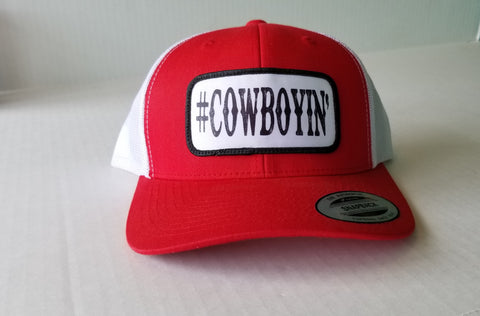 #Cowboyin' Youth Trucker Snap Back Hat - Red & White
