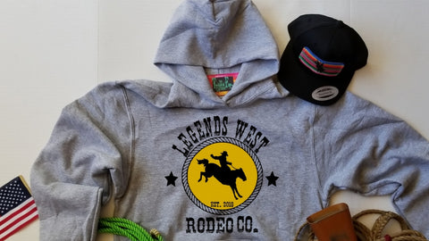 Legends West Bronc Rider -Toddler Hoodie - Grey