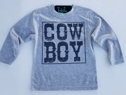 Cow Boy - L/S Tee -Toddler - Gray