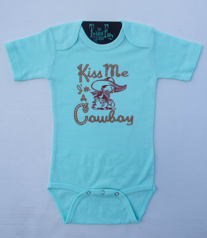 Kiss Me I'm A Cowboy - S/S One Piece - Infant - Turquoise