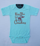 Kiss Me I'm A Cowboy - L/S One Piece - Infant - Turquoise