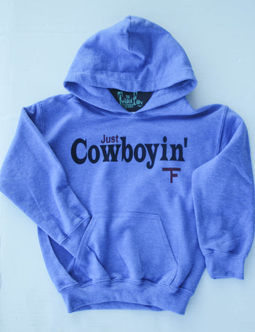 Just Cowboyin' - Youth Hoodie - Blue