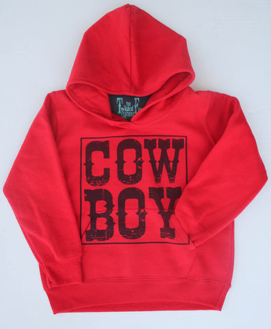 Cow Boy - Youth Hoodie - Red