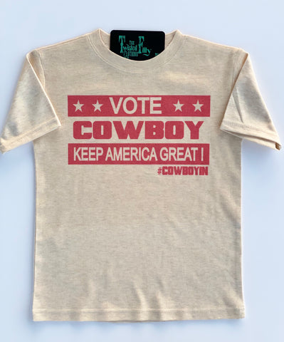 Vote Cowboy Keep America Great! Adult S/S Tee - Oatmeal