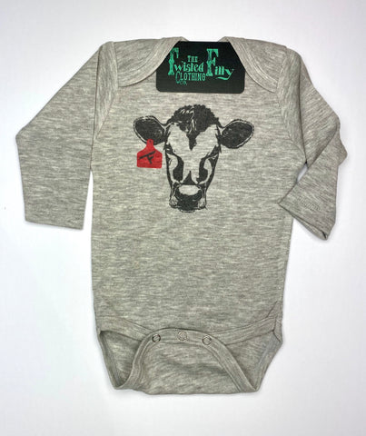 Calf W/ Ear Tag - L/S One Piece - Infant- Gray