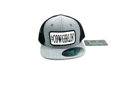 #Cowgirlin' - Toddler Trucker - Blk + Htr Gry
