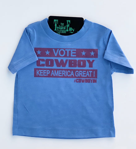 Vote Cowboy Keep America Great!  S/S Tee - Blue