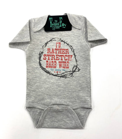 I'D Rather Stretch Barb Wire - S/S One Piece  - Grey