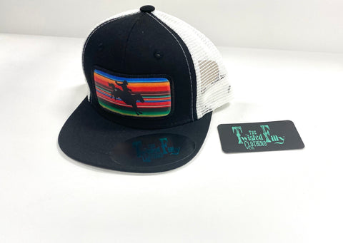 Serape Bucking Horse - Toddler Trucker - Blk + Wht