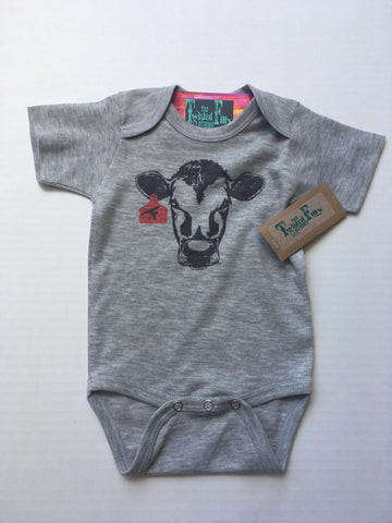 Calf W/ Ear Tag - S/S One Piece - Infant- Gray