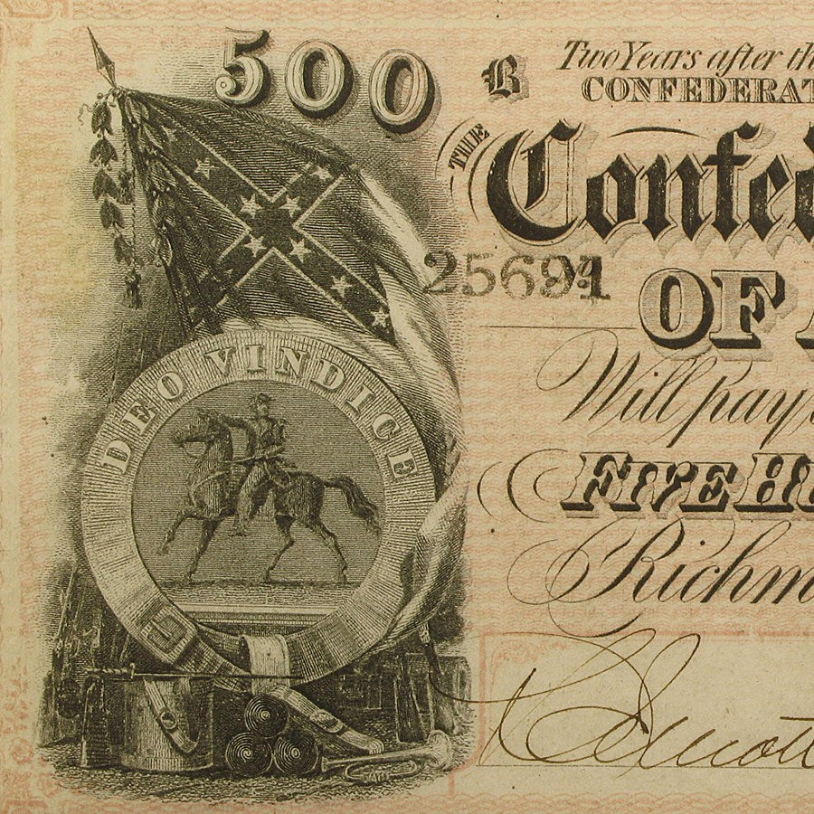 1864 Confederate States of America CSA $500- Authentic Paper Currency Bill Note