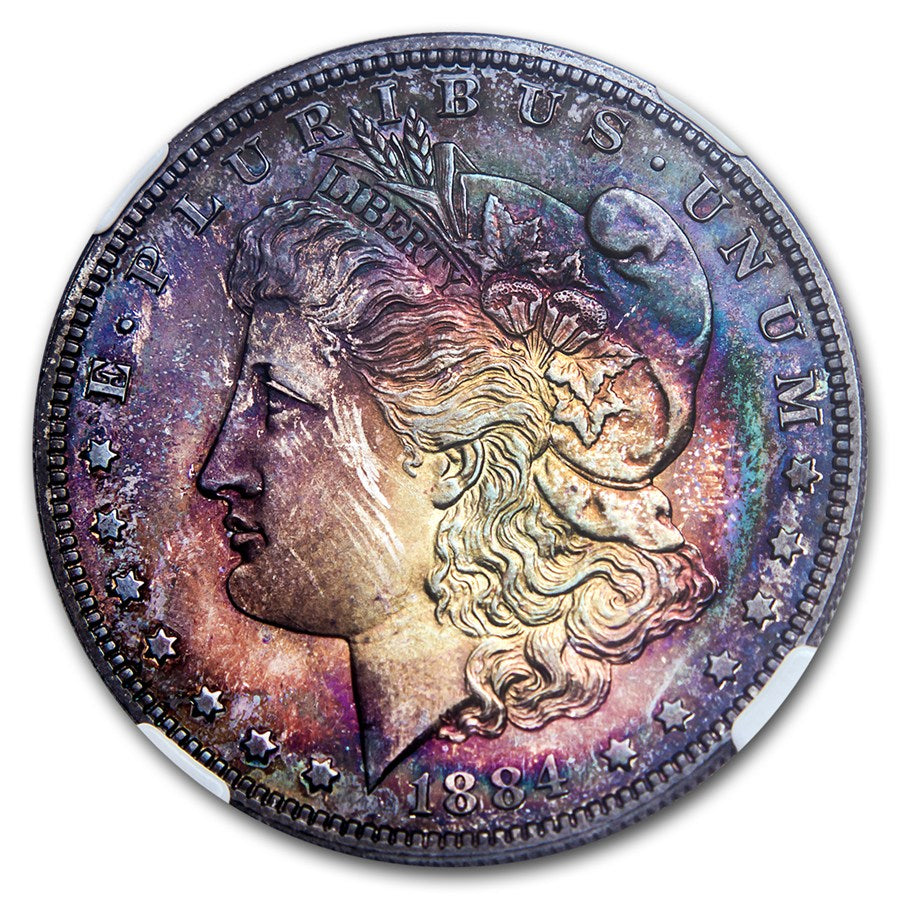 1884 Morgan Dollar- .77oz Silver Coin- Graded PF-66+ Dark Toning Toned