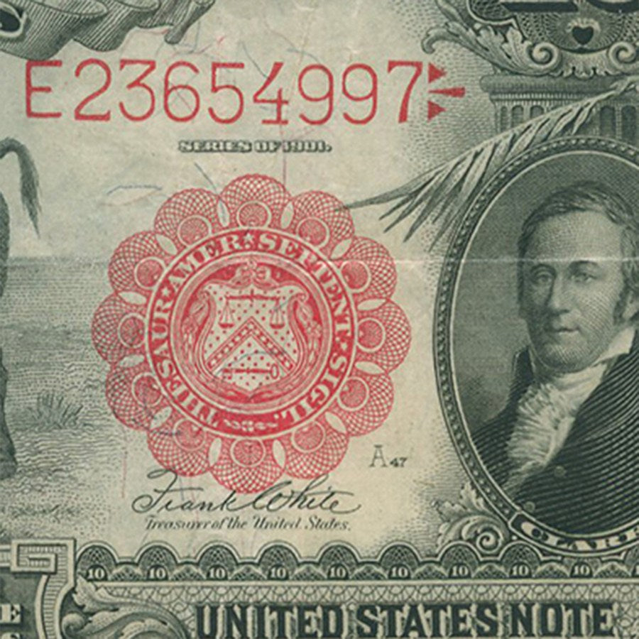 1901 $10 Lewis & Clark Bison Paper Currency Bill US Note- Red Seal Fine/VF - Coins Curated
