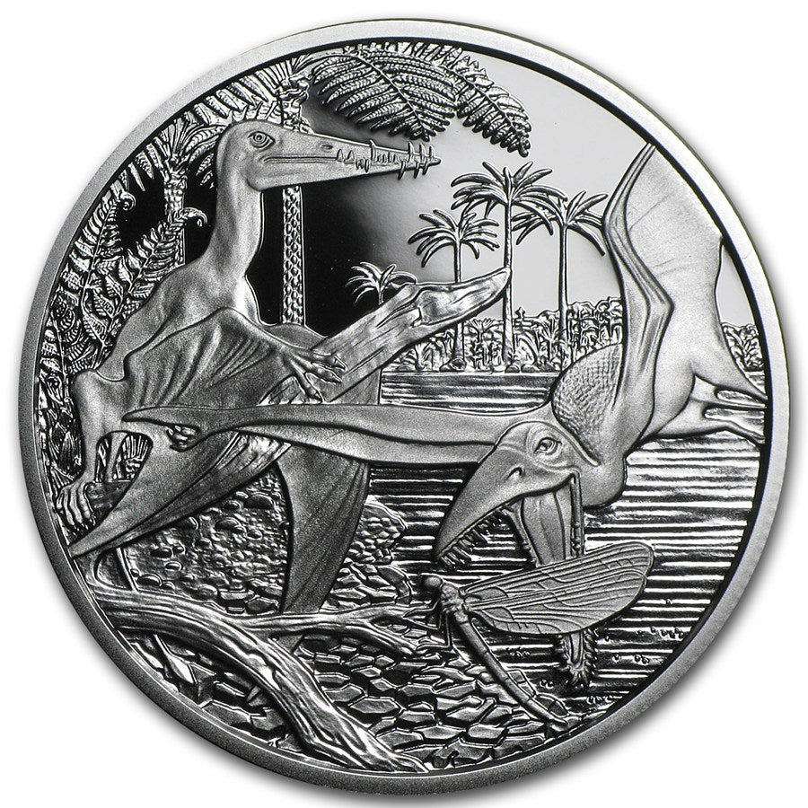 2013 Silver Austria €20- Back from the Dead- Rhamphorhynchus Dinosaur Coin Set - Coins Curated