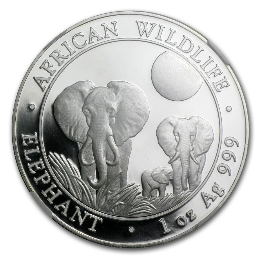 2014 100 Shillings Somalia 1 oz Silver Coin- African Elephant- Graded MS-69 NGC - Coins Curated