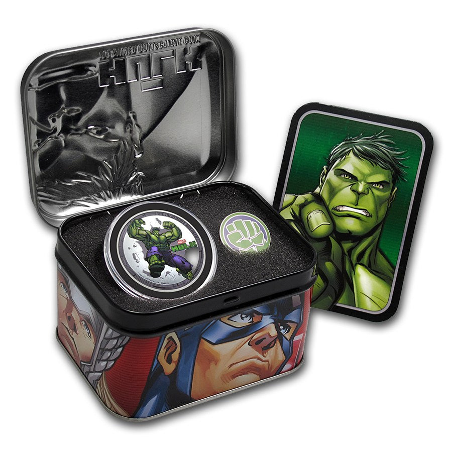 2014 The Avengers 4oz Silver Proof Coin Set- Niue Thor Hulk Iron Man Captain America